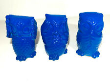 Set of 3 - Wise Owls  - BLUE