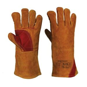 Portwest A530BRRXL -  All Sizes Reinforced Welding Gauntlet - Brown