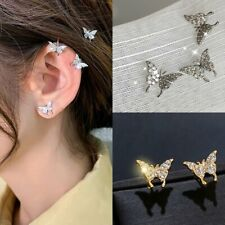 Crystal Butterfly Earrings Ear Clip Women Earring Simple Gold Silver Party Gift