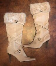 Women's Nine West Beige Leather Faux Fur Trimmed Boots Size 9.5