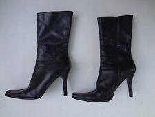 WOMEN'S SIZE 8 1/2, CUBAN HEEL, MID-CALF, BLACK LEATHER BOOTS BY DIBA!