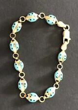 """Italy 14 kt Gold Child's Enamel Ladybug Bracelet 6"""""""
