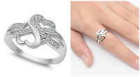 Sterling Silver 925 PRETTY HEART KNOT LOVE DESIGN CZ PROMISE RING SIZES 4-12