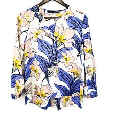 Zara Basic Womens Floral Top Size M Button 3/4 Sleeve Light Office Multicolor