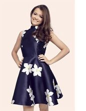 Sistaglam Fleur Floral Sateen High Neck Prom Dress Size 10 BNWT RRP £63.99 Navy