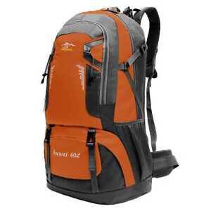 60L Große Outdoor Trekking Rucksack Wasserdicht Unisex Herren Damen Orange