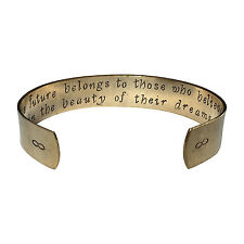 "The Future Belongs To Those Who Believe In The | Hand Stamped 1/2"" Aluminum Cu"