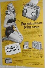 1948 Motorola advertisement for Motorola Portable Radios, TV, girl in bikini