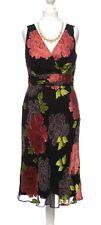 John Rocha Black Coral Floral Silk Devore Flippy Hem Dress Mother Wedding 12 -14