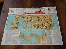 1937 BIRDS EYE VIEW OF THE PANAMA CANAL & MAP OF PANANMA COL MAP 10 B/W ILLUS ^