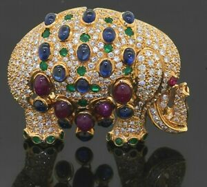 Heavy 18K YG 18.50CT VS diamond ruby sapphire emerald cluster elephant brooch