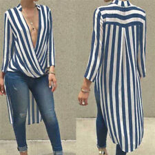 Women Autumn Long Sleeve Maxi Dress Deep V Neck Stylish Striped Sexy Shirt JX