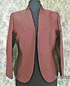 Deep red & grey textured sheen party jacket by ARTIGIANO Size 14 Diamond pattern