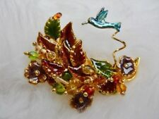 KC brooch hummingbird beaded enameled leaves gold tone bird #364