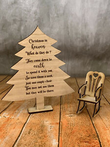 Christmas in Heaven. Memorial Tree & Rocking Chair. Memorial. Timber or Acrylic
