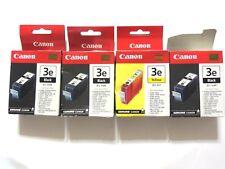 X4 Genuine Canon BCI-3e 3x black and 1x yellow color ink tank cartridge NIB