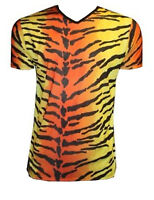 MEN'S TIGER ANIMAL PRINT T-SHIRT TOP FANCY DRESS COSTUME GOTH PUNK EMO HALLOWEEN