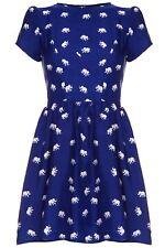 ISKA LONDON Brand Blue Elephant Print Fit & Flare Yumi Dress Size 10 BNWT #SU75