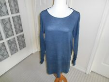 Lou & Grey knit tunic top slate blue dolman LS tiered knit sweater top cotton L