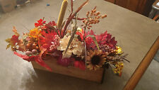Fall Floral Arrangement,   Centerpiece,  In an Antique Sewing drawer holiday