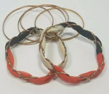 Copper Bangle Bracelets (6) Thin stackable Weaved Interwoven Fabric Orange Blue