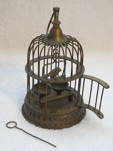 Small Vintage Solid Brass Decorative Bird Cage with Swing from India 7 inch