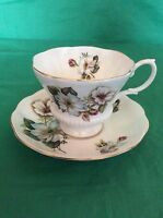ROYAL ALBERT BONE CHINA ENGLAND CUP & SAUCER BLUE WHITE FLOWERS