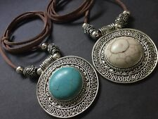 Long Suede Necklace With A  Large Statement Ethnic Turquoise Cream Pendant Boho