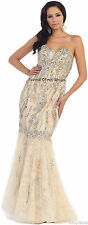 SALE !! IVORY/GOLD PROM QUEEN EVENING MERMAID DRESS RED CARPET FORMAL PARTY GOWN