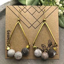 Rose Valley Dangles Matte Gray White Jasper Brass gold Teardrop Boho Earrings