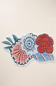 Anthropologie Tufted Lida Bath Mat French Floral Flower Rug Cotton Bathroom NWT