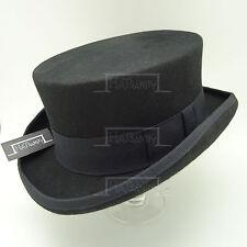 VINTAGE Wool Felt Topper Top Hat Men Tuxedo Victorian Short Party | 55cm | Black