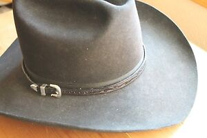 AA Hatband Tooled Leather Western Cowboy Hat Band Belted Style Silver Buckle