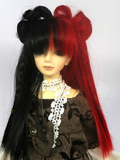 Doll Wig Lolita Style with Buns and Braids Black, Red Split BJD Size 7, 8, 9, 10