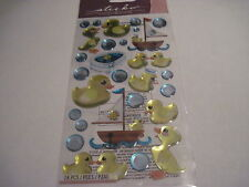 Scrapbooking Crafts Stickers EK Success Sticko Puffy Rubber Ducks Duckies Yellow