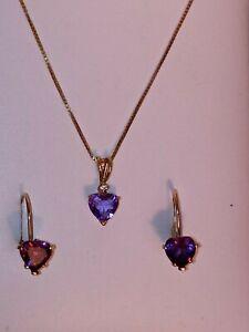 Amethyst Heart Shape Earring & Pendant Necklace Set 14k Yellow Gold