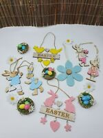 Wooden Hanging Easter Tree Decoration Laser Cut Egg Rabbits Bunny Cute Craft