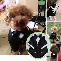 Pet Dog Cat Clothing Wedding Suit Tuxedo Bow Tie Puppy Party Clothes Coat S-XXL