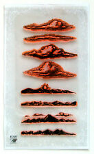 "Clear Stamps Lot (4""x7"") Clouds Mountains Engraving FLONZ Vintage Rubber 007"