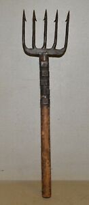 Antique hand forged 5 barbed gaff eel spear collectible fighting trident tool