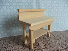 WOODWORK BENCH  IN 1/12 SCALE. HANDMADE FOR MINIATURE DOLLSHOUSE SHED