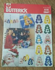 """New Vintage Butterick 6725 Craft Care Bears 6"""" Ornament Sewing Pattern Uncut Oop"""