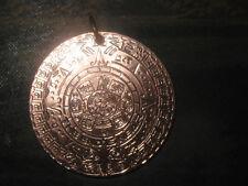NEW 40MM 2012 COPPER AZTEC MAYAN SUN CALENDAR MEXICO PENDANT CHARM NECKLACE