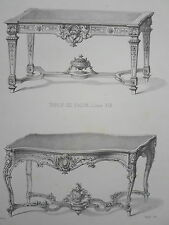 Table de Salon Louis XIV Louis XV GRAVURE le GARDE-MEUBLE DESTOUCHES XIXéme