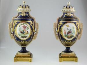 Rare Antique 19th Century Porcelain Ornithological Flowers Vases Circa 1870