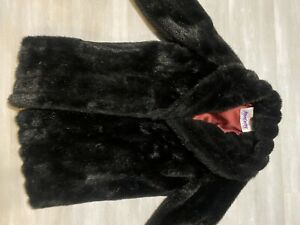 Monterey Fashions Womens Faux Fur Coat All Black Long Jacket (See Measurnments)
