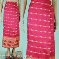 VTG Fuschia Pink Long Embroidered Gold Elephants India Sari Wrap Skirt Sz M L