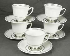 Set 5 Royal Doulton England Bone China H4399 Platinum Teacup Cup & Saucers (HH)