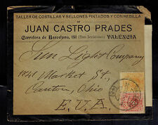 1918 Valencia Spain Censored commercial Mourning Cover to USA Juan Castro Prades