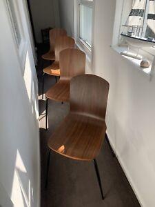 "MADE.COM ""Ryland"" Walnut Veneer Dining Chairs x 4"